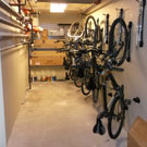 Steadyrack vertical bike storage system for narrow storage rooms