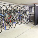 Steadyrack vertical bike storage system for parking garages