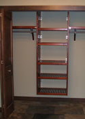 John Louis Home red mahogany reach-in closet installation