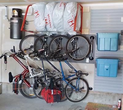 Handiwall slatwall garage storage system and Steadyrack bike racks installation & Garage Storage